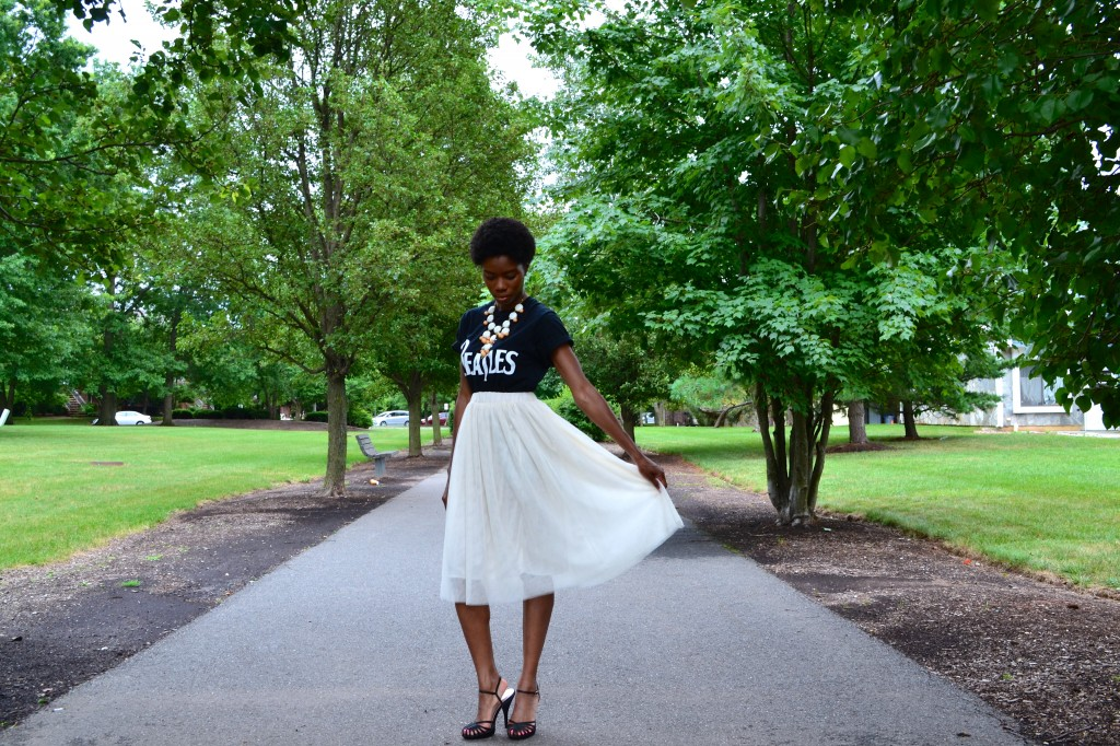 Tulle skirt and Beatle tee