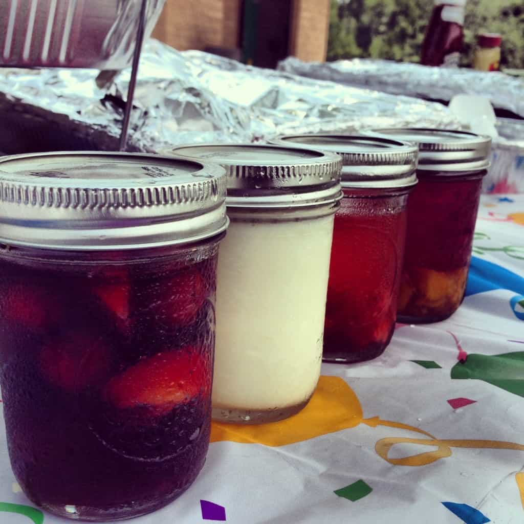 create custom drinks for a picnic party and put in mason jars
