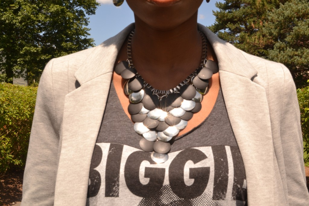black and silver statement necklace, grey blazer, and biggie smalls tank top