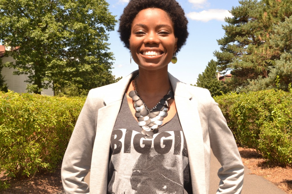 black and silver statement necklace, grey blazer, Biggie Smalls tank and teeny weeny afro