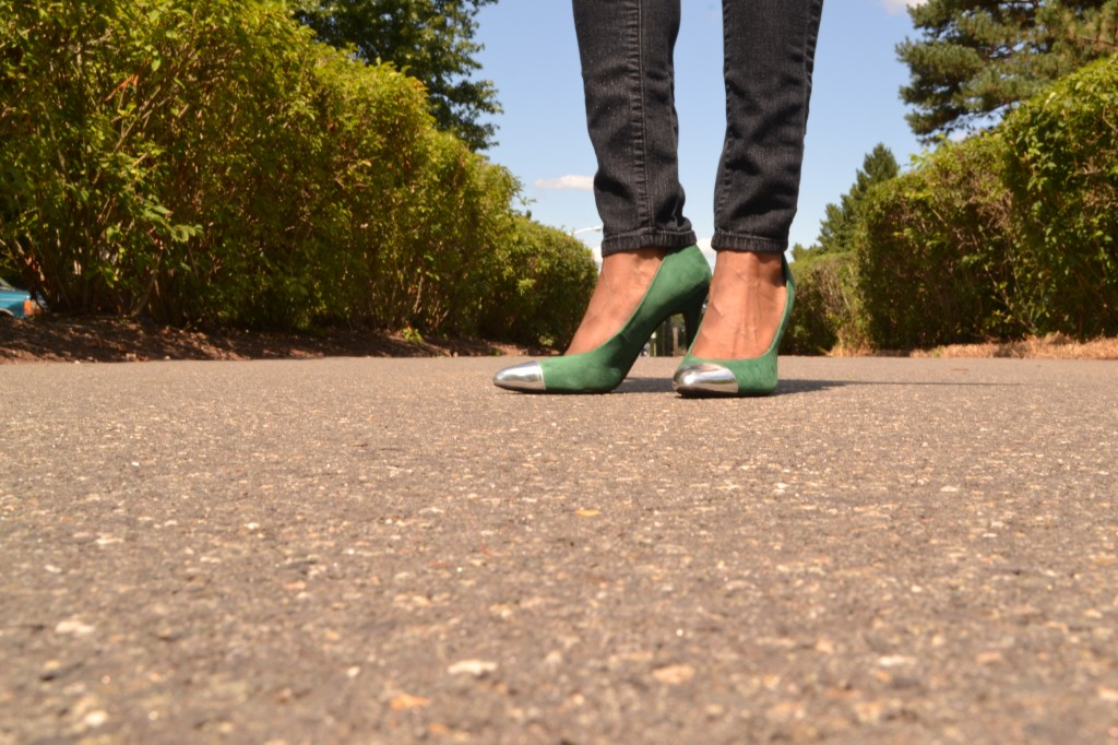 hunter green pumps with a silver pointy toe, from Target