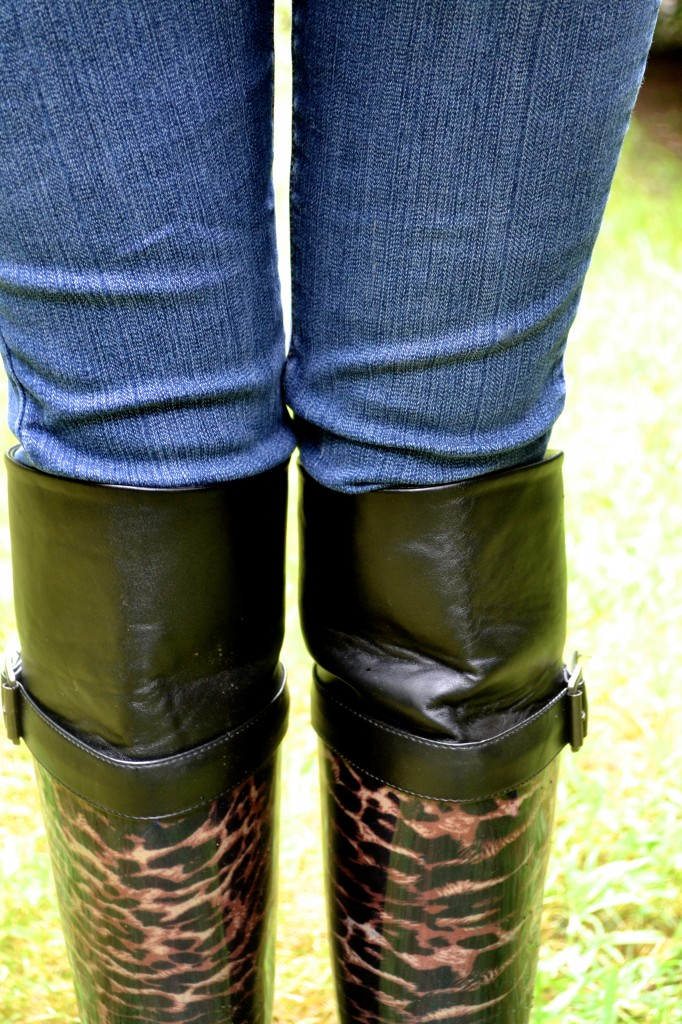 cheetah print rain boots with faux leather and buckle detail