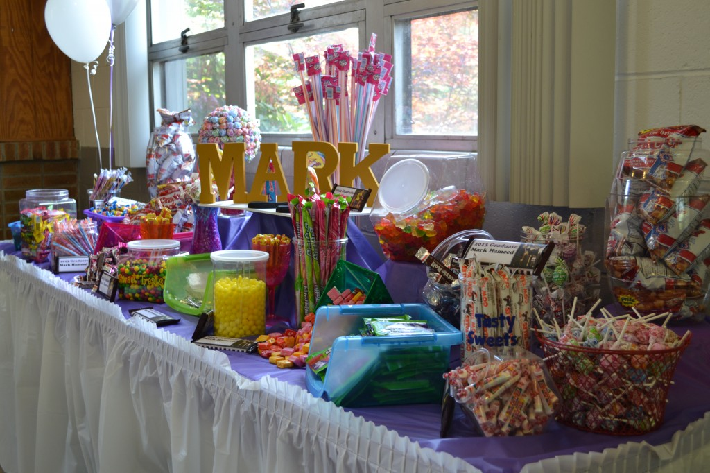 A candy station at a high school graduation party/open house