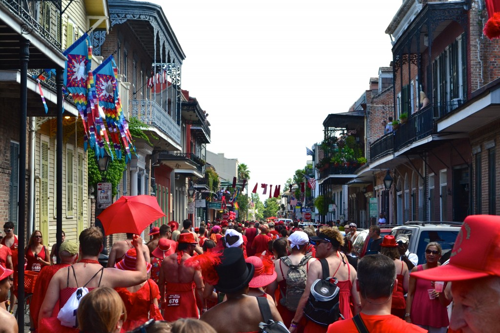 The crowd at New Orleans Red Dress Run