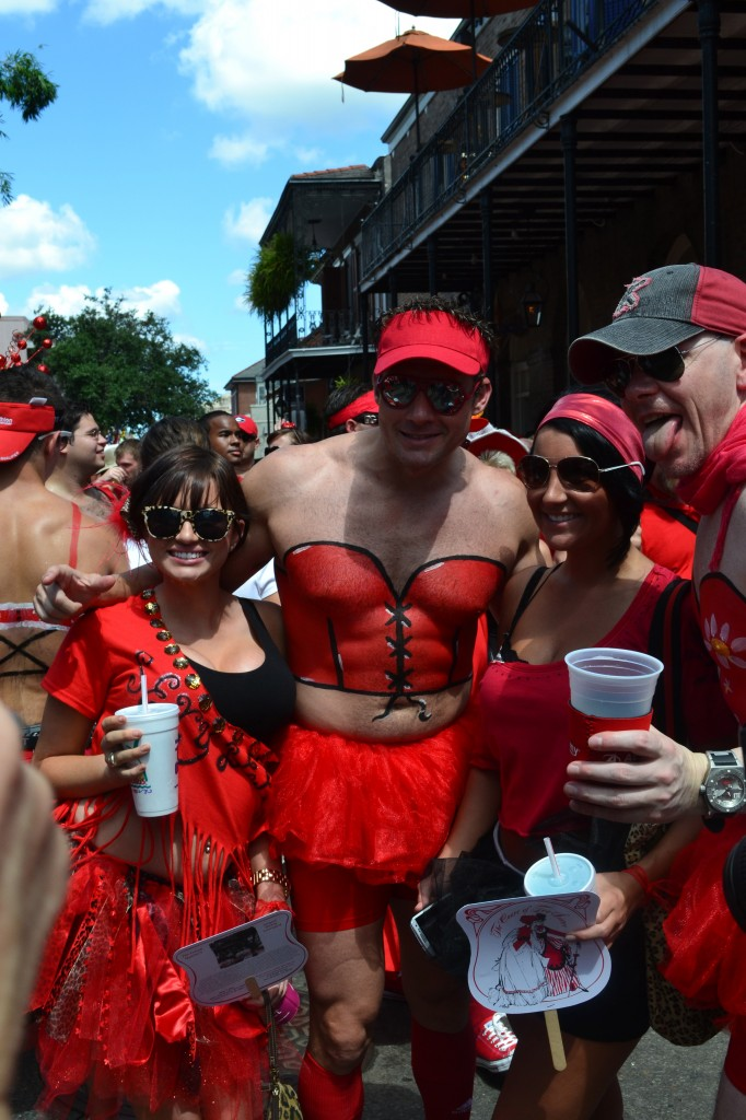 Man with painted on costume for New Orleans Red Dress Run