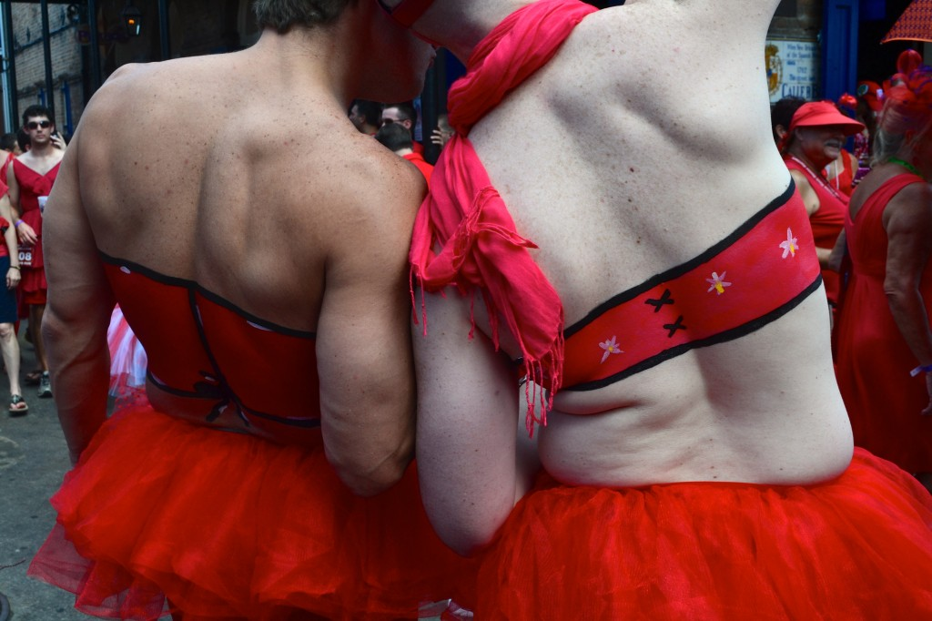 painted on corsets for men at New Orleans Red Dress Run
