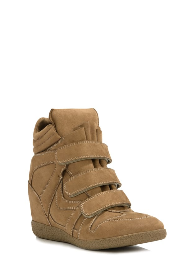 camel colored sneaker wedges