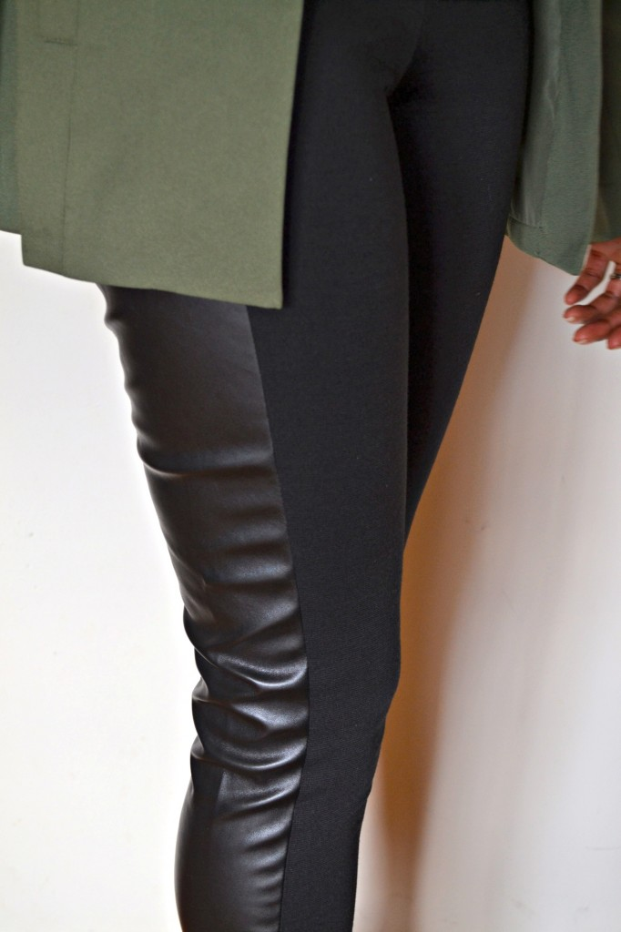 tuxedo style leggings with a faux leather panel