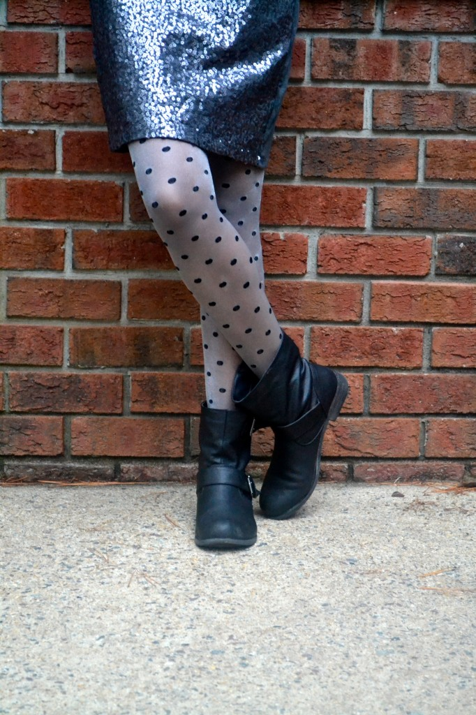 polka dot tights and motorcycle boots