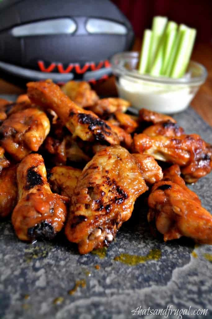 A great Game Day recipe for hot wings using cranberry sauce and sriracha.