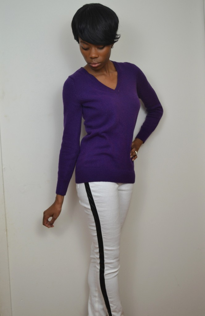 White tuxedos pants paired with a jewel tone sweater #ThisIsStyle #cbias #Shop