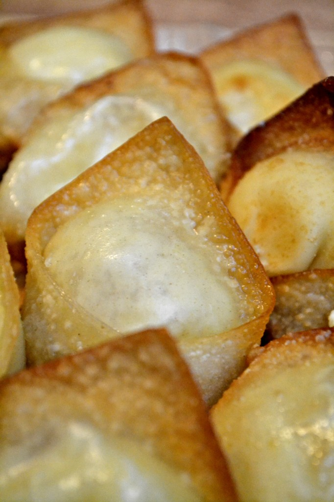 pineapple cream cheese wontons, fun dinner party dessert