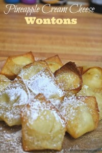 pineapple cream cheese wontons, fun dinner party dessert