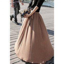 bow tie camel maxi skirt