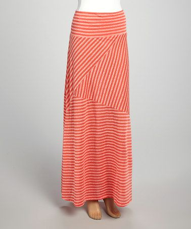 coral striped maxi skirt