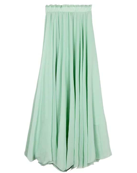 mint green chiffon maxi skirt
