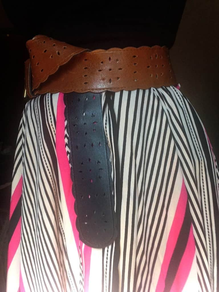 black, white and hot pink chiffon maxi skirt