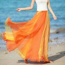 Orange color-blocked chiffon maxi skirt
