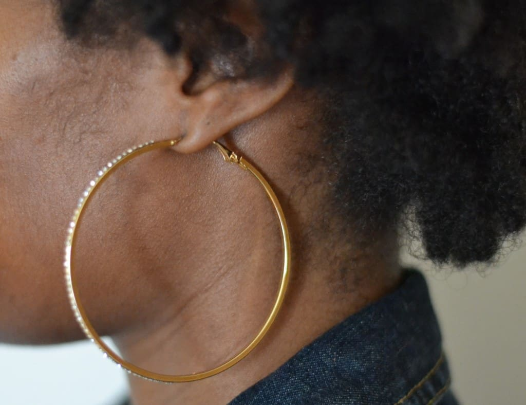 Oversized hoop earrings with diamond detail from JustFab