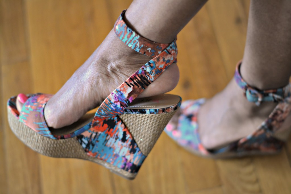 Multi-colred print wedges from JustFab