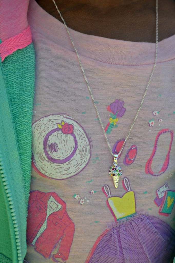 Cute graphic tee from Cheerokee and an ice cream cone necklace