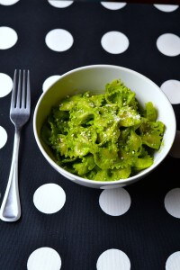Garlic creamy pesto recipe with no cream; lists a cool trick that tells how to make this