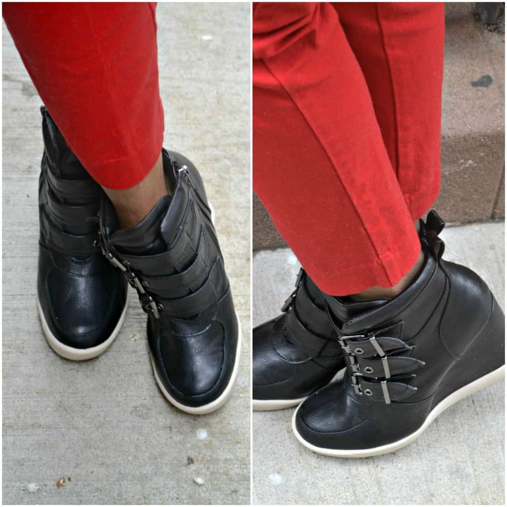 Steve Madden sneaker wedges worn with a nautical outfit