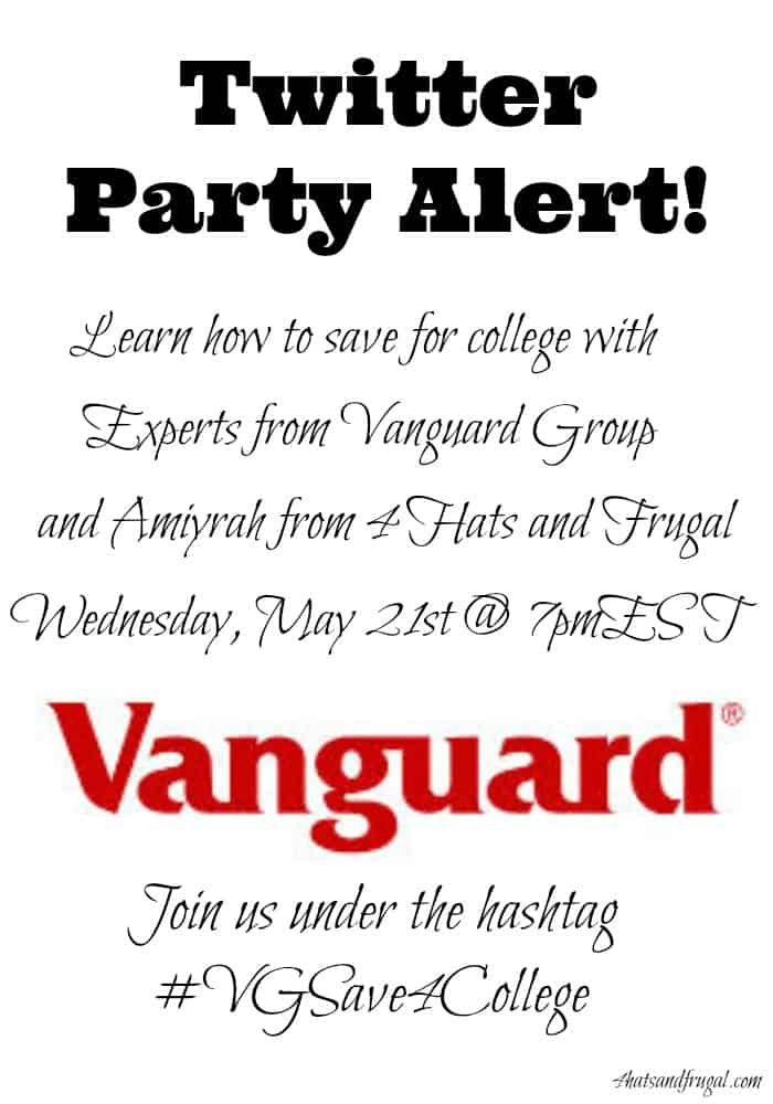 Join Amiyrah Martin and the Vanguard Group on twitter, Wednesday May 21st for a great chat about how to save for college.