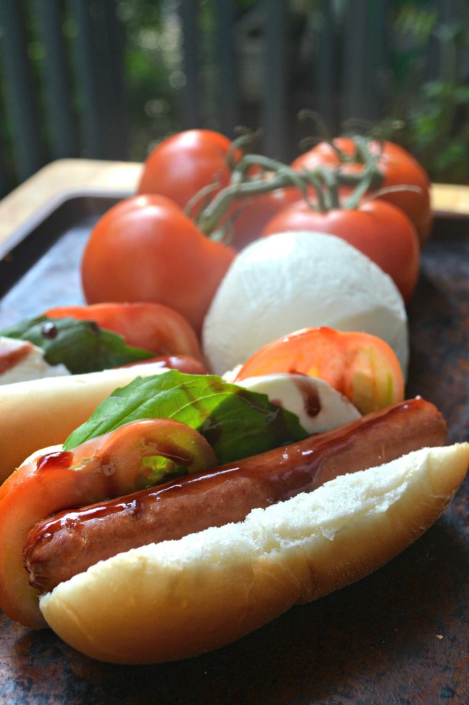 This is great twist on the usual hot dogs that we grill every summer. A blend of caprese salad and grilled hot dogs.