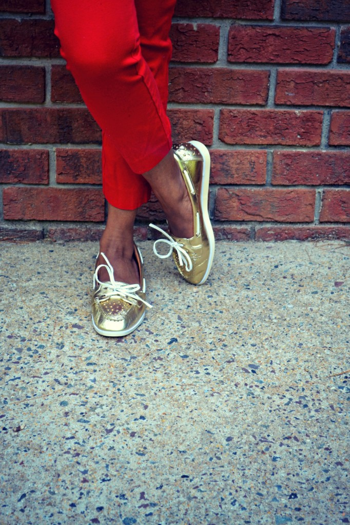 Gold boat shoes from JustFab
