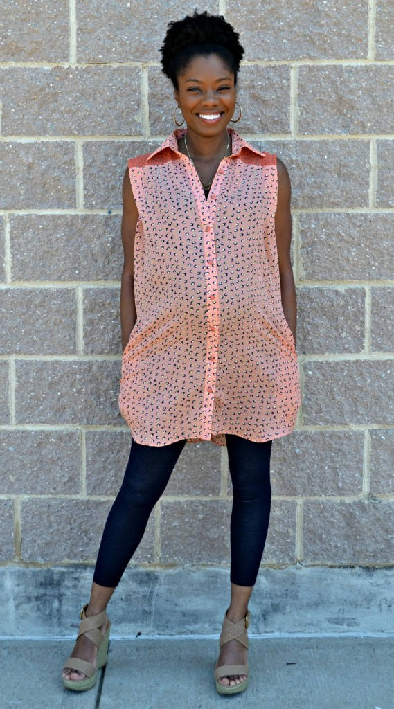 Fun maternity style outfit for the summer featuring a unique peach tunic.