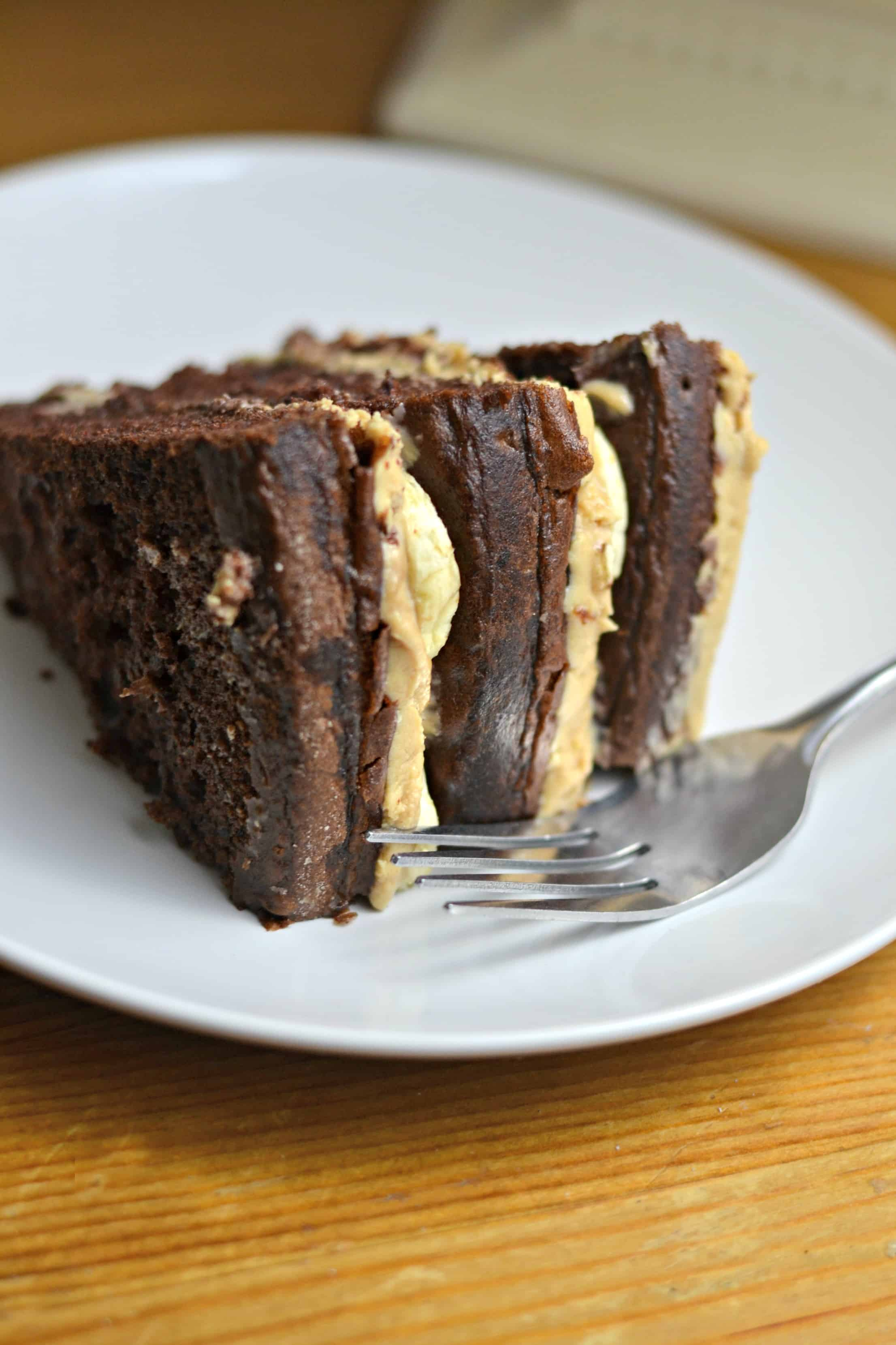 Chocolate Sour Cream Cake With Peanut Butter Frosting