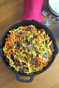 Need an easy and inexpensive recipe for your meal plan? This kielbasa and noodles recipe is fast and within your tight budget!