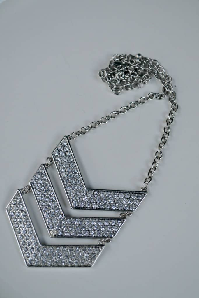 Favorite Thrift Store Jewelry Finds; a thrifted chevron necklace