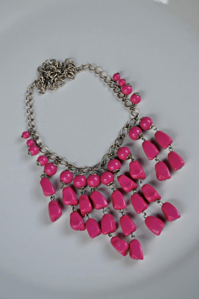 Favorite Thrift Store Jewelry Finds; a thrifted pink necklace