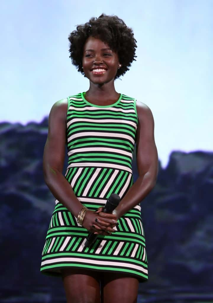 "ANAHEIM, CA - AUGUST 15:  Actress Lupita Nyong'o of THE JUNGLE BOOK took part today in ""Worlds, Galaxies, and Universes: Live Action at The Walt Disney Studios"" presentation at Disney's D23 EXPO 2015 in Anaheim, Calif.  (Photo by Jesse Grant/Getty Images for Disney) *** Local Caption *** Lupita Nyong'o"