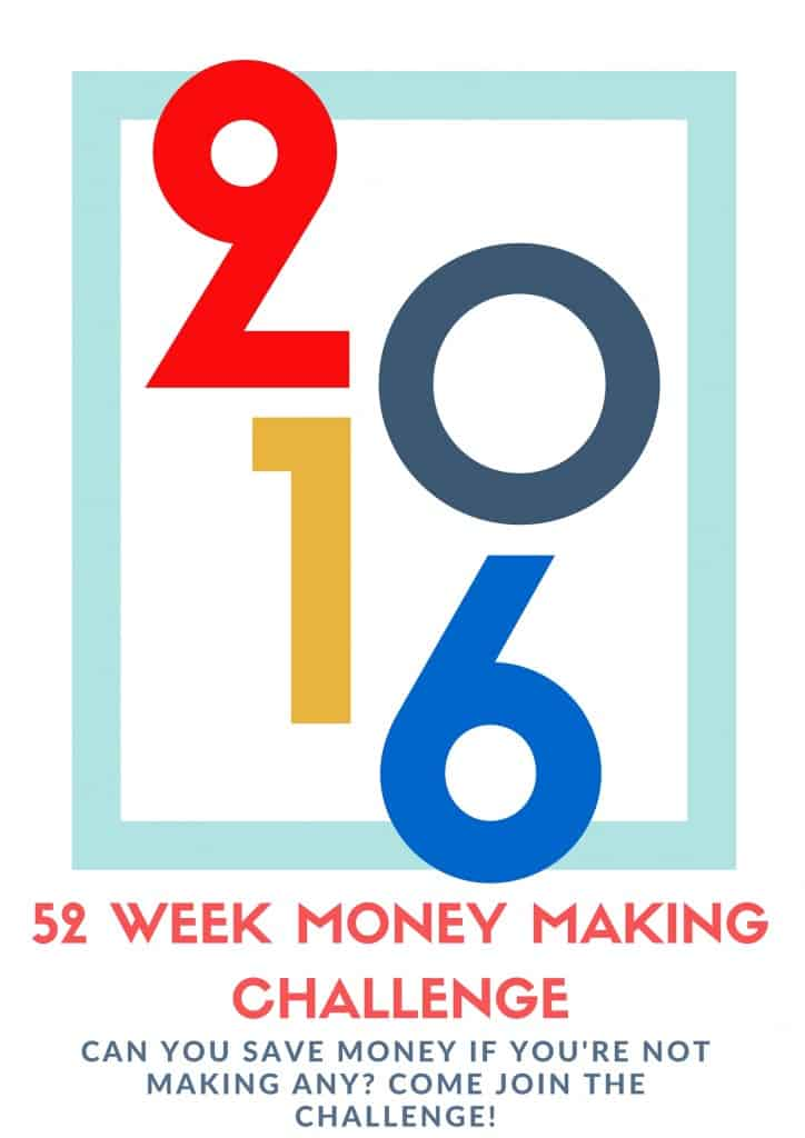 The 52 week money saving challenge is so popular right now,. But I need to MAKE more money in 2016? I can't wait to get going on this 52 Week Money Making Challenge!