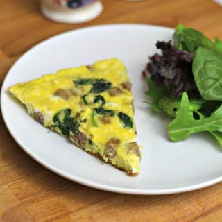 Need a quick frittata recipe, for breakfast, lunch or dinner? This one uses fully cooked sausage, and fresh spinach! #SausageFamily #sponsored