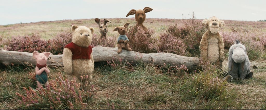 Piglet, Pooh, Rabbit, Roo, Kanga, Tigger and Eeyore in Disney's live-action adventure CHRISTOPHER ROBIN.