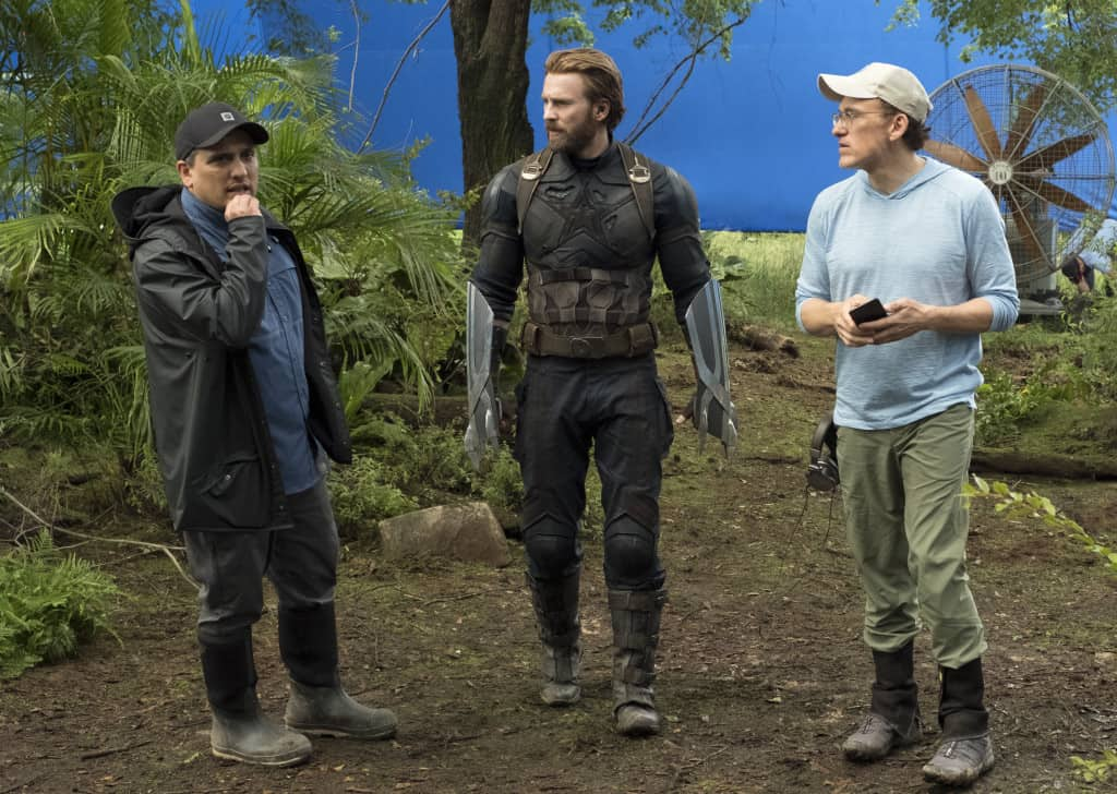 Marvel Studios' AVENGERS: INFINITY WAR..L to R: Director Joe Russo, Captain America/Steve Rogers (Chris Evans) and Director Anthony Russo..Photo: Chuck Zlotnick..©Marvel Studios 2018