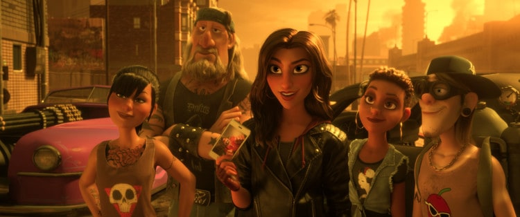 "THE RACE IS ON – When video-game bad guy Ralph and Vanellope head to the internet in search of a replacement part for her game, Sugar Rush, they find themselves in the middle of Slaughter Race, an online racing game set in an apocalyptic world that's populated by first-person players and gaming characters. As a racer herself, Vanellope is immediately drawn to this fierce and fun crew of racers who, unlike in other racing games, are much more multidimensional than at first glance. Among the core team of game characters in Slaughter Race are Felony (voice of Ali Wong), Butcher Boy (voice of Timothy Simons), Shank (voice of Gal Gadot), Little Debbie (voice of Glozell Green) and Pyro (voice of Hamish Blake). ""Ralph Breaks the Internet"" opens in U.S. theaters on Nov. 21, 2018. ©2018 Disney. All Rights Reserved."