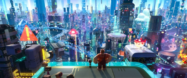 """INTO THE INTERNET – In """"Ralph Breaks the Internet: Wreck-It Ralph 2,"""" Vanellope von Schweetz and Wreck-It Ralph leave the arcade world behind to explore the uncharted and thrilling world of the internet. In this image, Vanellope and Ralph have a breathtaking view of the world wide web, a seemingly never-ending metropolis filled with websites, apps and social media networks. On a quest to save Vanellope's game, how will these two misfits ever succeed in this vast new world?  Featuring the voices of Sarah Silverman as Vanellope and John C. Reilly as Ralph, Walt Disney Animation Studios' """"Ralph Breaks the Internet: Wreck-It Ralph 2"""" opens in U.S. theaters on Nov. 21, 2018. ©2018 Disney. All Rights Reserved."""