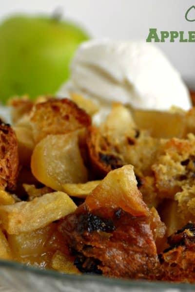 apple brown betty, with cinnamon raisin bread
