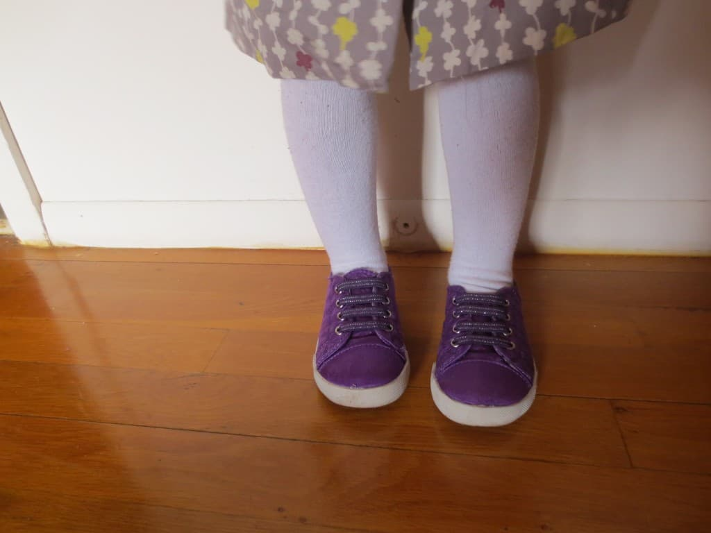 purple sneakers from Target, kids fashion, grey and purple
