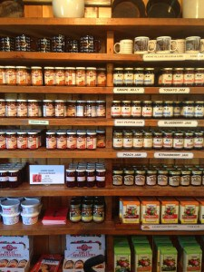 Wall of jams, jellies and preserves, Amish Village PA