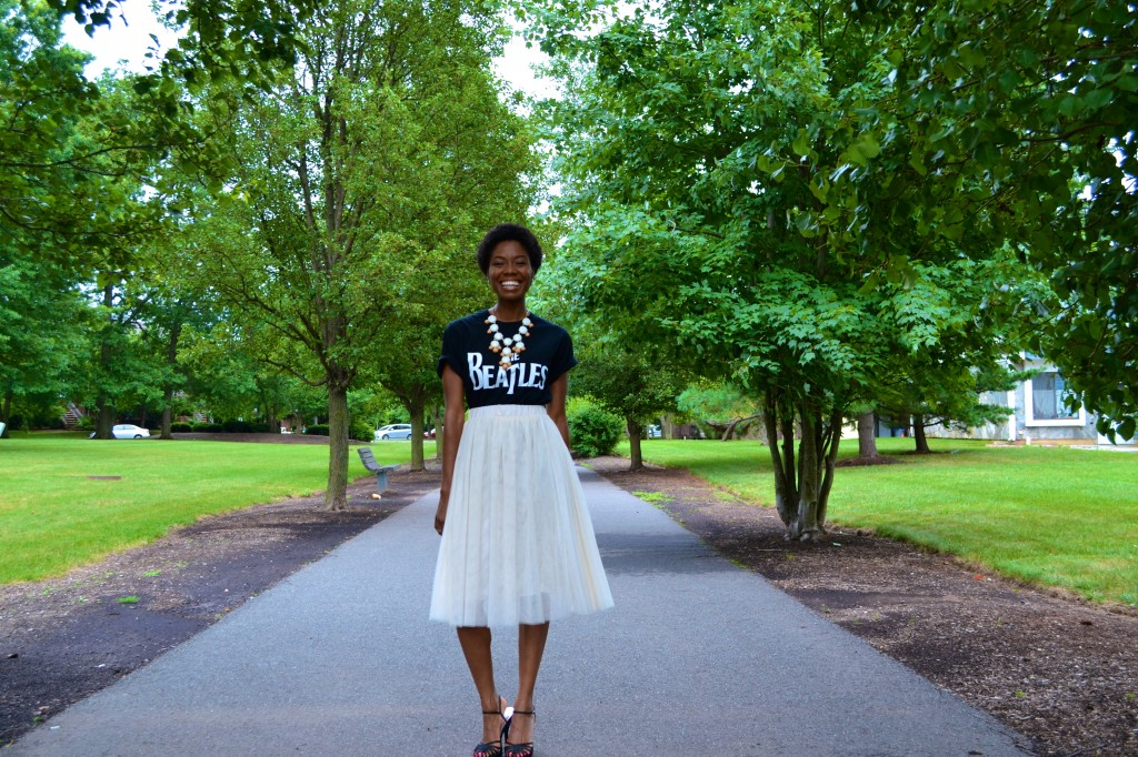 Tulle skirt and Beatles Tee