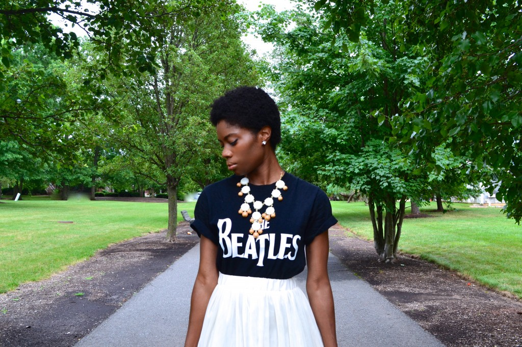 Beatles Tee with a bauble necklace