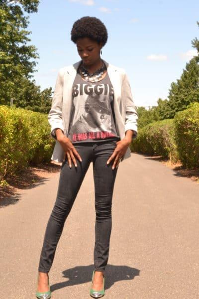 Blazer by Wallis, Biggie Smalls tank, black cigarette pants