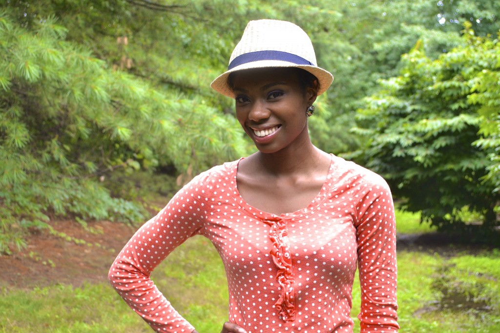 straw fedora hat and polka dot ruffle shirt