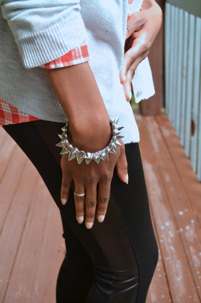 edgy plaid, faux leather and stud arm candy #ThisIsStyle #shop #cbias